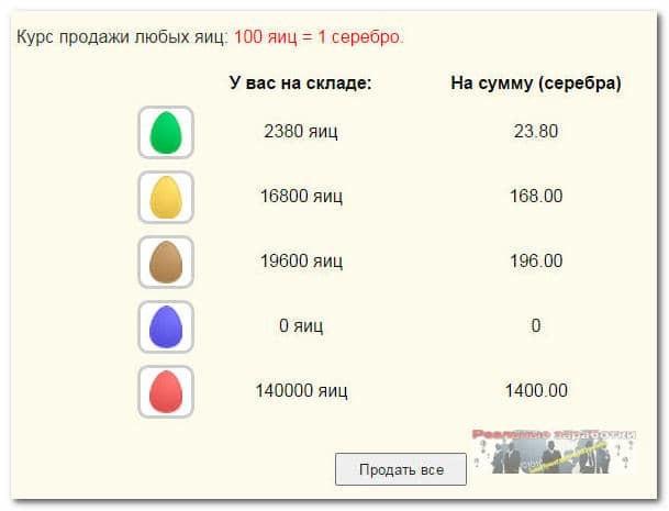 Продажа яиц в игре Money Birds