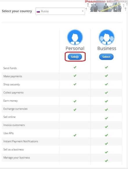 Выбор типа аккаунта в Payza