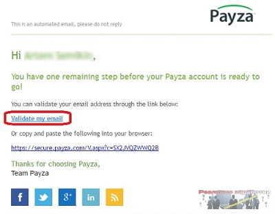 Подтверждение адреса электронной почты в Payza