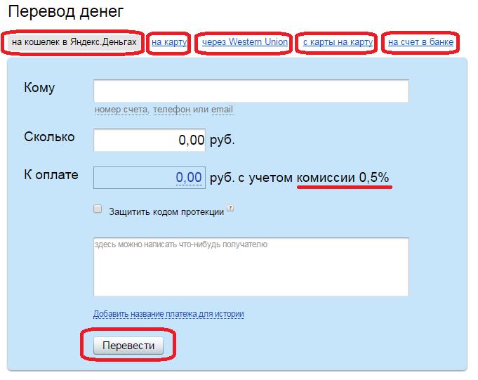 Раздел Переводы в Яндекс кошельке-a21