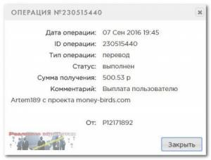 Money Birds выплата